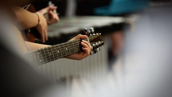 Leahurst College students playing guitar