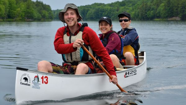 Leahurst College students in a canoe